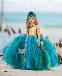 $enCountryForm.capitalKeyWord NZ - Bluish and Greenish Flower Girls Dresses 2019 with Butterfly & Gold Sequins Bodice Ball Gown Little Girls Pageant Dresses Multi Color