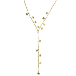 Wholesale 2018 Chrismas gift many gold plated star charm link chain Y lariat long chain sexy women lovely star statement necklace