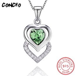 $enCountryForm.capitalKeyWord Australia - Concho Jewelry 925 Sterling Silver Heart Zircon Crystal Necklace For Women Wedding Best Gift 2018 Hollow Pendant Necklace