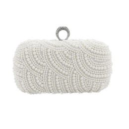 clutches for evenings Australia - Elegant Full Pearls Crystal Beaded Double Bridal Wedding Hand Bags Evening Party One Shoulder Small Clutch Dinner Bags Ring Bag For Ladies