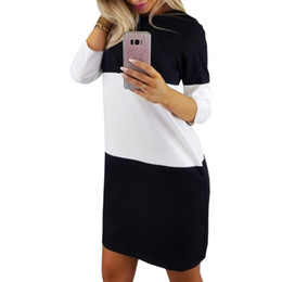 $enCountryForm.capitalKeyWord NZ - Autumn Long Sleeve Women Black White Dresses Hoodies Dress Casual Straight Stripe Patchwork Mini Party Dress Plus Size M0086