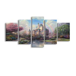 fairy canvas art UK - 5 pieces high-definition print Fairy tale castle canvas painting poster and wall art living room picture HL-010