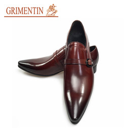 hot formal shoes NZ - GRIMENINT Hot sale Italian Fashion mens dress shoes genuine leather black brown oxford shoes black brown formal business wedding male shoes