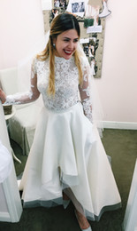 Ankle Length High Neck Wedding Dresses UK - Simple Ivory Top Lace Hi Low Designer A Line Wedding Dresses Jewel Illusion Country Garden Bridal Gown Floral Petite Long Sleeve bohemian