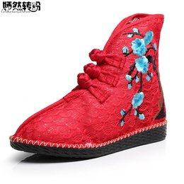 $enCountryForm.capitalKeyWord Canada - New Arrive Chinese Women Boots Plum Blossom Embroidered Ankle Boots Brathable Ladies Soft Canvas Shoes Woman Zapato Mujer