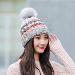 bfb656d35fe503 Korean version of the big Wool ball Mixed Color Knitted Household plus  Thick Wool Warm Autumn Winter Adult Women Hat