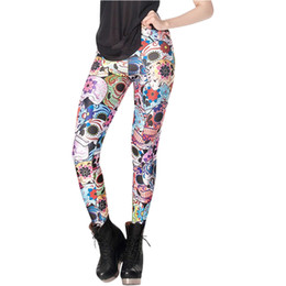 $enCountryForm.capitalKeyWord NZ - 2017 Fashion Day Of The Dead Leggings Women Colorful Skull Printed Pants Fitness Casual Leggins S M L XL X-017