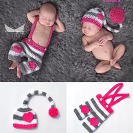 $enCountryForm.capitalKeyWord Australia - Fashion Newborn Cute Baby Photo Props Handmade Knitted Stripe Hat and Pant Set Cartoon Infant Phography Shoot Accessory PZ065