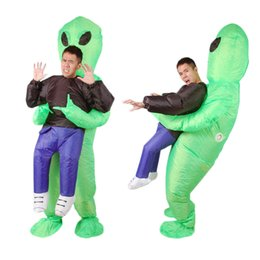 Scary adult clown coStumeS online shopping - Inflatable Monster Costume Scary Green Alien dinosaur Mascot Costume for Adult animal Halloween Purim Party