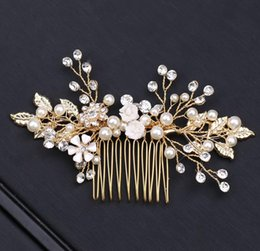 Wholesale Golden leaves brides combed combs wedding decorations dress accessories photo studio filming retro portrait headwear