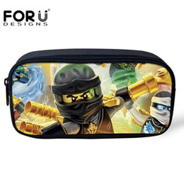 Kids Stationery Pencil Cases NZ - FORUDESIGNS Girls Cosmetic Bags 3D Cartoon Ninjago Print Student Pencil Case Bags Kids Boys Pen Pouch School Supplies Stationery