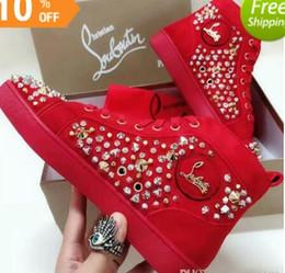 Designer de mode marque clouté chaussures plates Flats chaussures bas rouge pour les hommes et les femmes amateurs de fête baskets en cuir