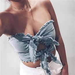 $enCountryForm.capitalKeyWord NZ - Demin Crop Top Women Cami Vintage Tops Femme Summer Strapless Front Bow Flash Short Shirts For Ladies Tank Top Women 2018