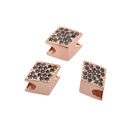 $enCountryForm.capitalKeyWord NZ - NEW Gold Silver Rose Gold Black Bead Findings Micro Pave CZ Square-shape Spacer Beads For DIY Beaded Bracelet Making