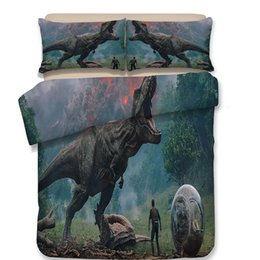 $enCountryForm.capitalKeyWord Canada - 3D Dinosaur Bedding Set 4pcs High Quality Pillowcases Fashion Style Cartoon Duvet Covers Queen King Size Printed Polyester Mix Wholesale