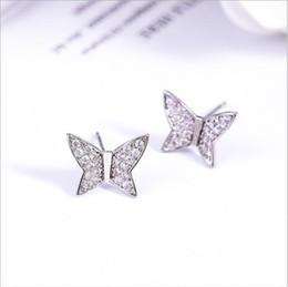 $enCountryForm.capitalKeyWord NZ - Butterfly diamond pin, Korean version 2018 new zircon 952 silver needle fashion minimalist Earrings accessories