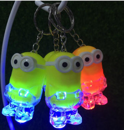 Discount minions toy wholesalers - 2018-New Arrival Minion LED Light Keychain Key Chain Ring Kevin Bob Flashlight Torch Sound Toy Despicable Me Kids Christ