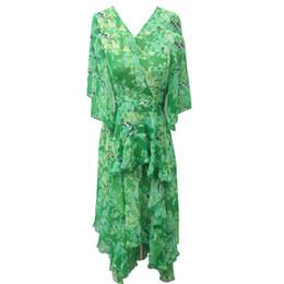 ad53990aa34 Women s Slipt Sleeve Dress Green Tropical Print Elegant Women Summer Dresses  Ruffles Hem Boho Beach Fishtail Dress