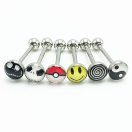 Tongues rings online shopping - 30pcs Tongue Rings Piercing Bar Stainless Steel mm g Oil Drip Nightmare Smiley Body Piercing Fashion Jewelry New