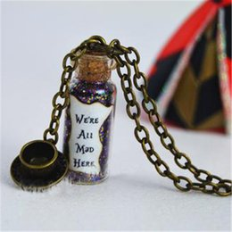 Magical cups online shopping - 12pcs we are all mad here magical neckalce with a tea cup charm bronze tone alice in wonderland necklace