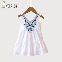 Kids frocKs fashion online shopping - weLaken New Fashion Summer Exquisite Frocks Baby Girls Dress Girls Wear Casual Dress Neckline Embroider Kids Girls Dresses