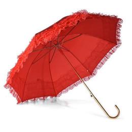 $enCountryForm.capitalKeyWord UK - 10pcs lot Long Handle Red Color Wedding Umbrella Hem Lace Princess Lady Girl Rain Sunshade Umbrella Parasol ZA5233