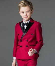 Wholesale Double Breasted High Quality Peak Lapel Red Kid Complete Designer Boy Wedding Suit Boys Attire Custom made Jacket Pants Tiet A A
