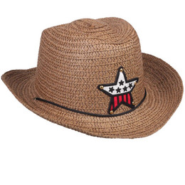 4a28eb79 Summer Children Sun Hat Straw Braided Star Applique Cowboy Boy Girl Kids  Cap 998