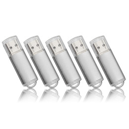 64 Gb Flash Drive Australia - Silver 5PCS LOT Rectangle USB Flash Drives Flash Pen Drive High Speed Memory Stick Storage 1G 2G 4G 8G 16G 32G 64G for PC Laptop Thumb Pen