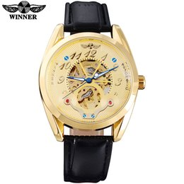 $enCountryForm.capitalKeyWord Australia - WINNER New Arrival Luxury Skeleton Design Fashion Men Watches Automatic Self-Wind Leather Strap Watches For Men Gold color