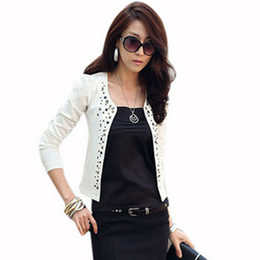 blazers suits elegant women UK - Ladies Short Suit Jackets Women Blazer 2018 Elegant Female Fashion Slim Rhinestone Rivets Short Suit Jacket Black White