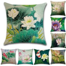 Lotus piLLows online shopping - New Pillowcase Hot Cotton Chinese Style Pillow Case Hand Painted Pencil Lotus Pillow Cover Cushion Cover Home Decoration