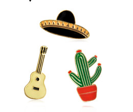 guitar party NZ - Wholesale Potted Cactus Guitar Planet Pin Enamel suit short collar decor backpack badge Hat pins gift for children women brooch
