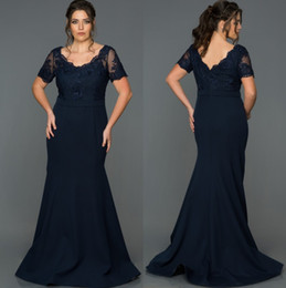 navy mother bride short dresses Australia - Dark Navy Mermaid Mother Of The Bride Dresses Scoop Neck With Short Sleeves Lace Wedding Guest Dress Floor Length Satin Evening Gowns