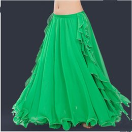 IndIan women sexy clothes online shopping - Blue Green Dancewear Professional Belly Dance Clothes Flamenco Indian Gypsy Sexy Split Chiffon Skirts Oriental Practice Belly Dance Skirt