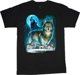 Tall Tee Men Canada - 2018 Fashion 100% Cotton Slim Fit Top Wolves Wolf Moon Wolf Shirt Tee Shirt Tall Shirts For MenSleeve Men Tshirt Fashion