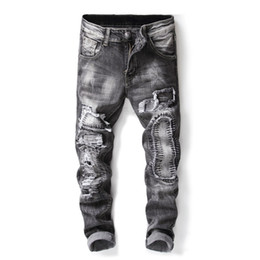 hi top brands NZ - 2018 New Top Fashion Brand Men Hi Street Ripped Jeans Streetwear Destroyed Distressed Denim Trousers With Holes Patchwork