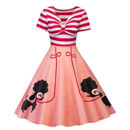 $enCountryForm.capitalKeyWord UK - Women Vintage V Neck Cute Dog Print Summer Dress Short Sleeve Rockabilly Vestidos Bowknot 50s Tunic A line Dresses DK4129SY