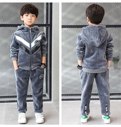 $enCountryForm.capitalKeyWord NZ - Boutique Boys Clothes 2018 Winter Suits For Boys Hoodie Two-Piece Tracksuit Kids Thickening of Velvet Teenage Boys Clothing Set