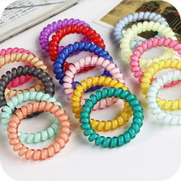 Gift Telephone Canada - New Korean Candy Colors Telephone Line 5CM Elastic Hair Bands Headbands For Women Hair Accessories Girls Rubber Bands Hair Ropes