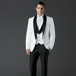 images blazers for white wedding Canada - Custom 2018 White Men Suits for Wedding Shawl Lapel Best Men Blazers Groom Tuxedos Bridegroom Prom 3 Pieces Jacket Black Pants Vest Party
