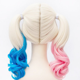 Wholesale quinn cosplay online – ideas 2020 bob Suicide Squad Harley Quinn Wigs Cosplay Peluca Styled Curly Synthetic Ponytail Wig Heat Resistant Hair halloween wigs for women