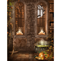 $enCountryForm.capitalKeyWord NZ - Halloween Photo Backgrounds Printed Old Books Candle Light Arch Windows Pumpkins Full Moon Night Kids Fairy Tale Party Backdrop