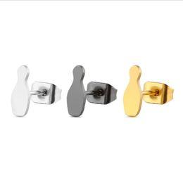 $enCountryForm.capitalKeyWord Canada - 10piars lot Sporty Bowling Earrings Minimalist Stainless Steel Earring Simple Black Sport Ear Studs Fashion Ear Jewelry For Women Girls