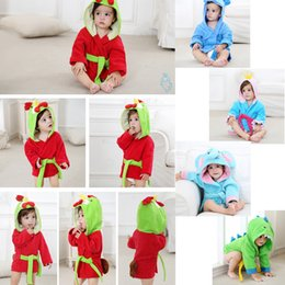 Kids cartoon animal bathrobe Baby Hooded bath tow Robes dinosaur Elephant  chicken dog model Nightgown Childrene home clothing 36pcs AAA977 7cd320439