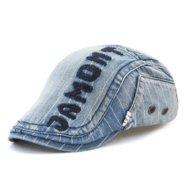 4f982043177 New Men and Women Outdoor Caps 2018 Classic Brand Letters Fashion Denim Hats  Casual Street Style Adjustable Caps High Quality Striped Berets