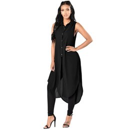 Discount plus size sleeveless blouses collar - Women Sleeveless Long Shirt Lace-up Sides High Slit 4XL 5XL Plus Size Chiffon Shirt Button Down Blouse Casual Summer Lon