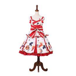 China 2018 New Arrival Women Japanese Style Lolita Dress Sweet Bowknot Goldfish Digital Printing Lolita JSK Dress Custom Made cheap lolita dresses custom made suppliers