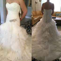 040bf78d00c91 Diamante Applique On Ruffle Organza And Drop Waist Mermaid Plus Size  Wedding Dress Sweetheart Neckline And Corset Back Closure Bridal Gown