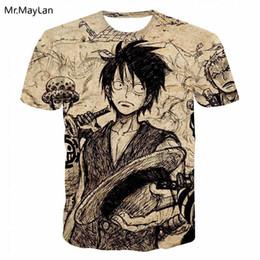 Luffy Clothing NZ - Harajuku Anime One Piece Luffy 3D Print Vintage Tshirt Men Women Retro Tee T shirt T-Shirt Summer Boys Casual Tops Clothes 5XL